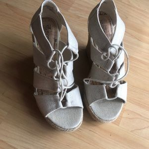 cream color platform wedges -silver type sheen